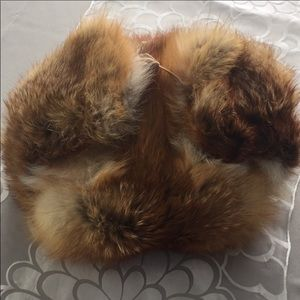 100% real red fox fur cap soft warm aviator hat